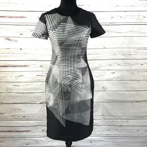 Carolina Herrera Sheath Dress Black WhiteSize 2